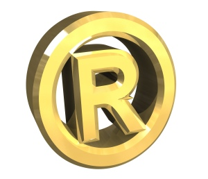 Registered symbol in gold (3d)